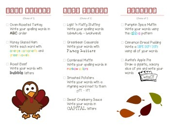 Thanksgiving Spelling Menu