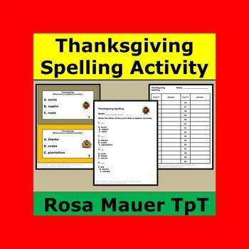 Thanksgiving Spelling Words