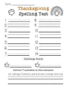 Thanksgiving Spelling Test