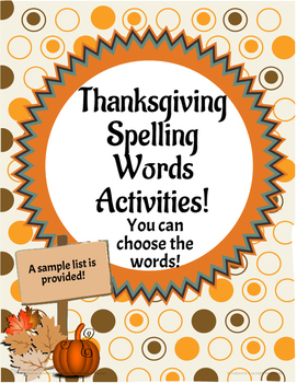 Thanksgiving Spelling Words Activities!