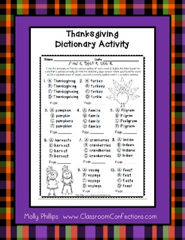 Thanksgiving Spelling and Dictionary Activity