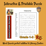 Thanksgiving Spellings Grade 1-2 Interactive Word Search Puzzle