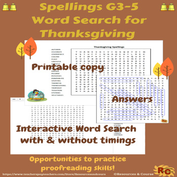 Thanksgiving Spellings Grade 3-5 Interactive Word Search Puzzle