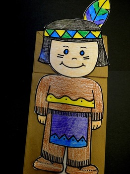 Thanksgiving Squanto Native American Paper Bag Puppet