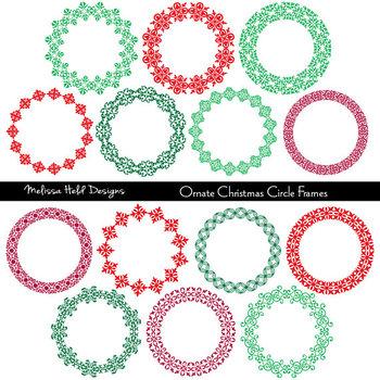 Clipart:  Christmas Circular Frames Clip Art