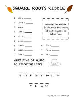 Thanksgiving Square Roots Riddle