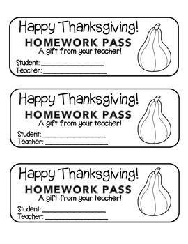 """Thanksgiving"" Squash - Homework Pass –Holiday FUN! (black line version)"