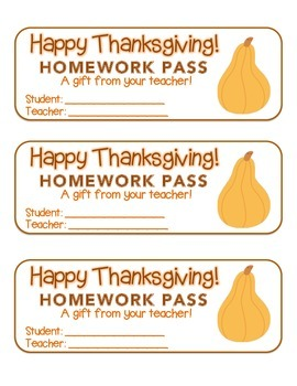 """Thanksgiving"" Squash - Homework Pass – Holiday FUN! (full color version)"