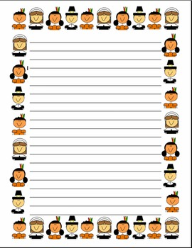 Thanksgiving Stationary- Pilgrims and Native Americans