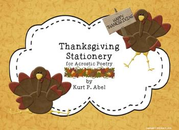Thanksgiving Stationery for Acrostic Poetry