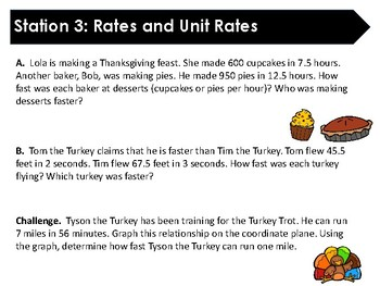 Thanksgiving Stations Review: Rates and Ratios