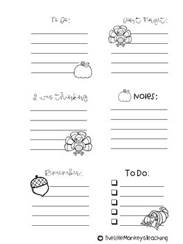 Thanksgiving Sticky Notes Freebie!