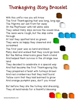 Thanksgiving Story Bracelet | Retelling a Story | Primary Readers