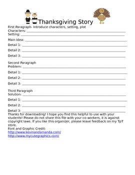 Thanksgiving Story Graphic Organizer