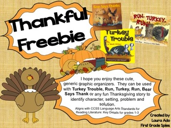 Thanksgiving Story Organizers for stories - Turkey Trouble or Run, Turkey, Run