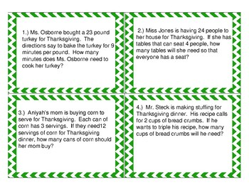 Thanksgiving Story Problem Scoot