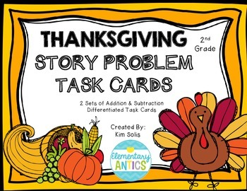 Thanksgiving Word Problem Task Cards (Addition, Subtractio