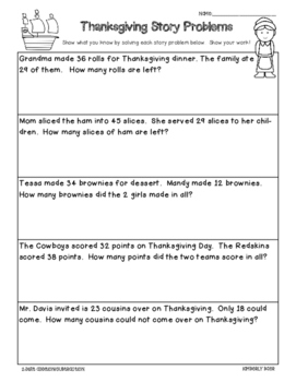 Thanksgiving Story Problems - Addition and Subtraction