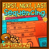 Thanksgiving Story Retelling and Sequencing Flap Books | First, Next, Last