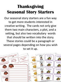 Thanksgiving Story Starter Cards