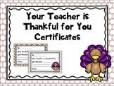 Thanksgiving Student Certificates