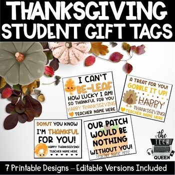 Thanksgiving Student Gift Tags