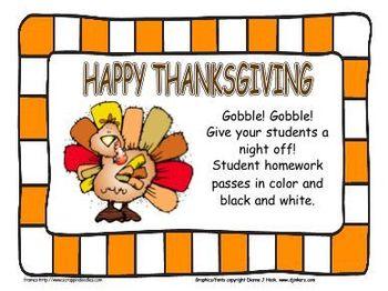 Thanksgiving Student Homework Pass #2