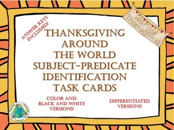 Thanksgiving Subject Predicate Task Cards