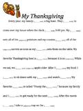 Thanksgiving Subject-Verb Agreement Mad Lib