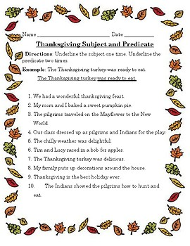 Thanksgiving Subject and Predicate