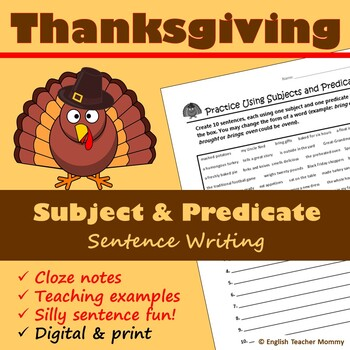 Thanksgiving Subject and Predicate Sentence Writing