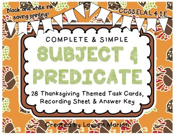 Thanksgiving Subject and Predicate Task Cards