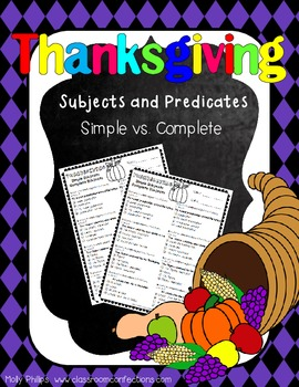 Thanksgiving Activity: Subjects and Predicates Thanksgivin
