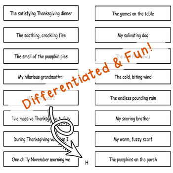 Fun November Grammar Activity Thanksgiving Subjects and Predicates