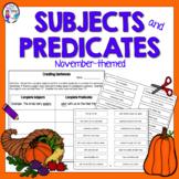 November Grammar Activity Thanksgiving Subjects and Predicates