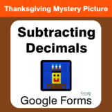 Thanksgiving: Subtracting Decimals - Mystery Picture - Goo