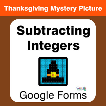 Thanksgiving: Subtracting Integers - Mystery Picture - Google Forms