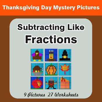 Thanksgiving: Subtracting Like Fractions - Color-By-Number Math Mystery Pictures