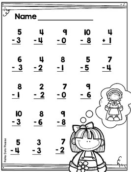 Thanksgiving Subtraction from 10 Printables and Assessments
