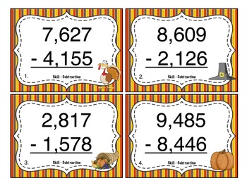 Thanksgiving Subtraction (4 Digit) Task Cards