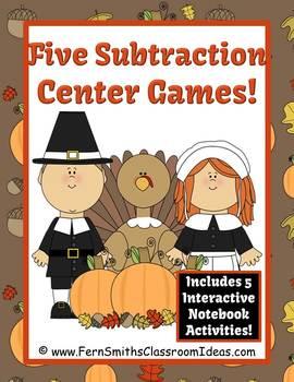 Thanksgiving Math Subtraction Math Center Games