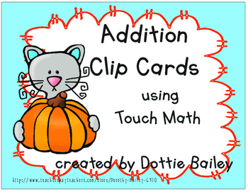 Thanksgiving Addition Clip Cards using Touch Math