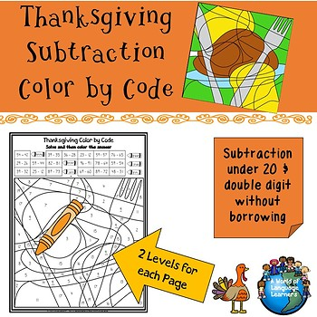 Thanksgiving Subtraction Color by Code