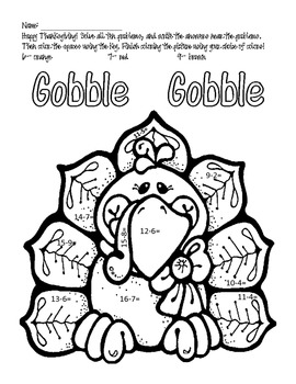 Thanksgiving Subtraction & Coloring