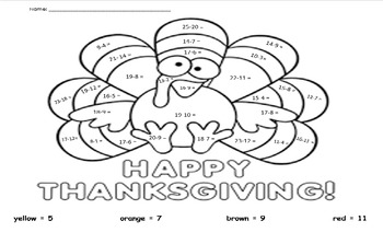 Thanksgiving Subtraction Coloring 25 and below