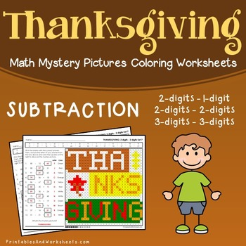 Thanksgiving Subtraction Worksheet, Math Mystery Picture Subtraction Color Pages