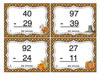 Thanksgiving Subtraction (Double Digit) Task Cards