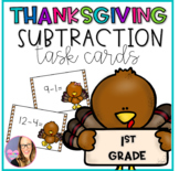 Thanksgiving Subtraction Facts Task Card for First Grade