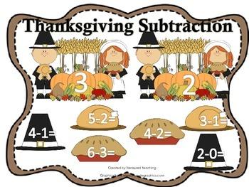 Thanksgiving Subtraction Math Center Activity