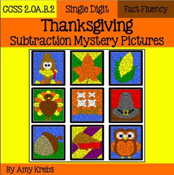 Thanksgiving Subtraction Mystery Pictures